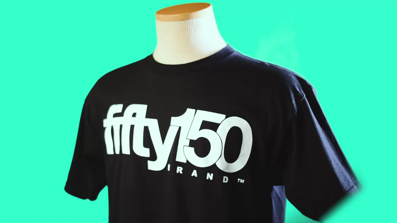 black fifty150brand t-shirt with a white logo